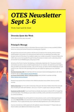 OTES Newsletter Sept 3-6