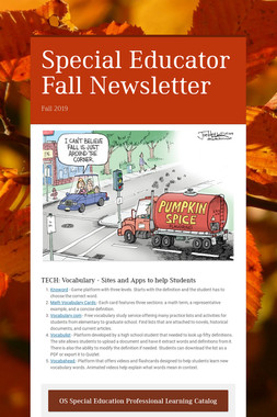 Special Educator Fall Newsletter