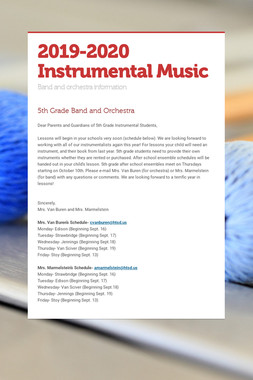 2019-2020 Instrumental Music