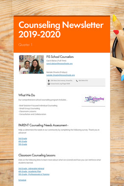 Counseling Newsletter 2019-2020