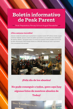 Boletín informativo de Peak Parent