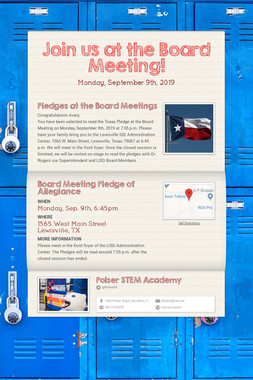 Join us at the Board Meeting!