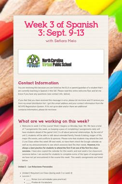 Week 3 of Spanish 3:  Sept. 9-13