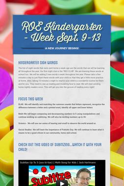ROE Kindergarten - Week Sept. 9-13