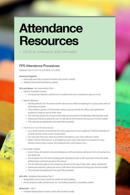 Attendance Resources