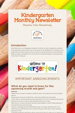 Kindergarten Monthly Newsletter