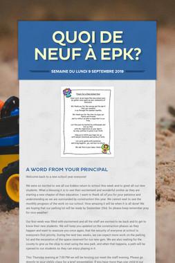Quoi de neuf à EPK?