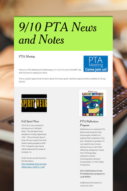9/10 PTA News and Notes