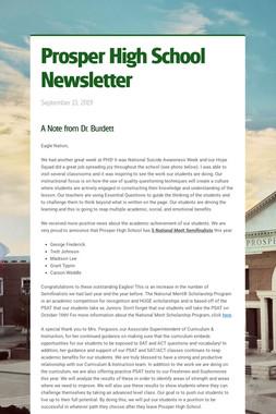 Prosper High School Newsletter