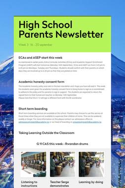 High School Parents Newsletter