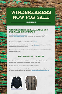 Windbreakers Now for Sale