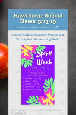 Hawthorne School News: 9/13/19