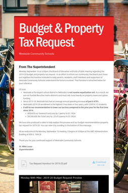 Budget & Property Tax Request