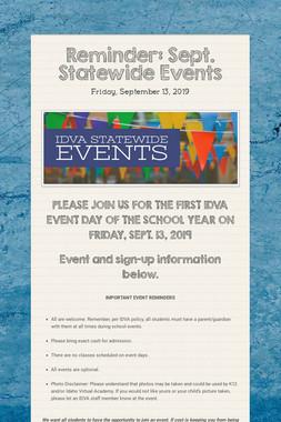 Reminder: Sept. Statewide Events