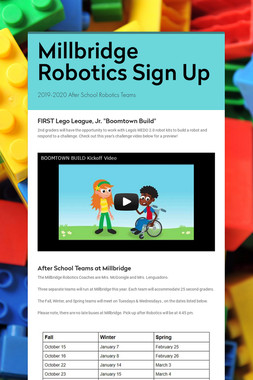 Millbridge Robotics Sign Up