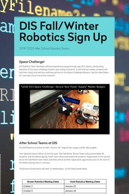 DIS Fall/Winter Robotics Sign Up
