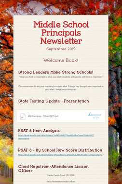 Middle School Principals Newsletter
