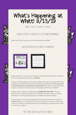 What's Happening at Whitt! 9/13/19