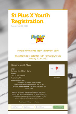 St Pius X Youth Registration
