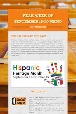 Peak Week of September 16-20 Memo