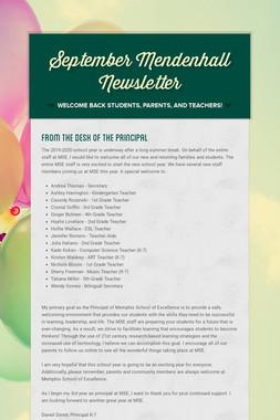 September Mendenhall Newsletter