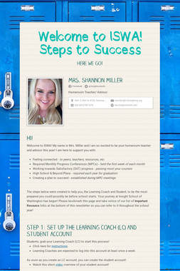 Welcome to ISWA! Steps to Success