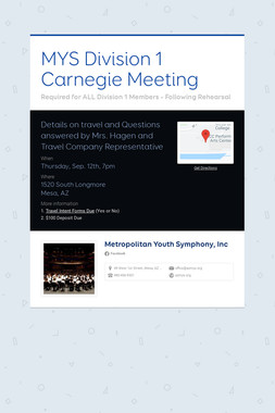 MYS Division 1 Carnegie Meeting