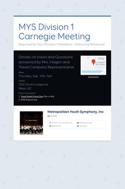 MYS Division 1 Carnegie Meeting
