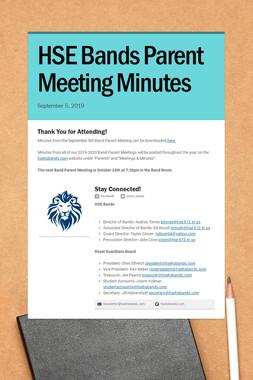 HSE Bands Parent Meeting Minutes
