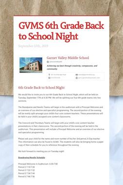 GVMS 6th Grade Back to School Night