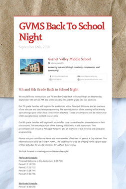 GVMS Back To School Night