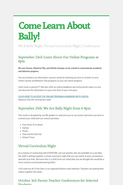 Come Learn About Bally!