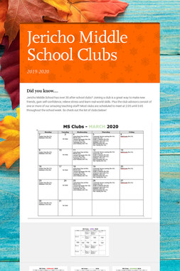 Jericho Middle School Clubs