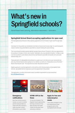What's new in Springfield schools?