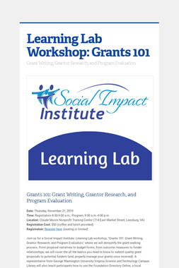Learning Lab Workshop: Grants 101