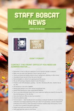 Staff Bobcat News