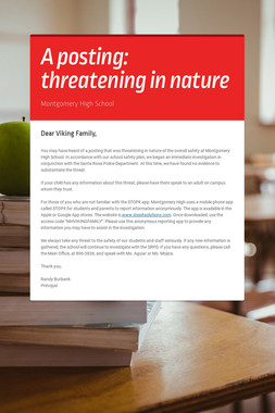 A posting: threatening in nature