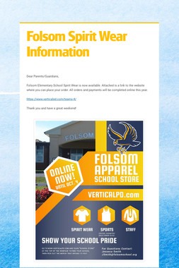 Folsom Spirit Wear Information