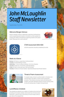 John McLoughlin Staff Newsletter