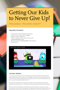 Getting Our Kids to Never Give Up!