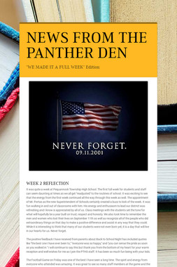 NEWS FROM THE PANTHER DEN