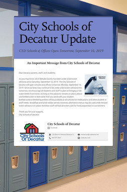 City Schools of Decatur Update