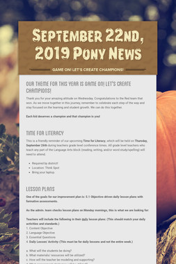 September  22nd, 2019 Pony News