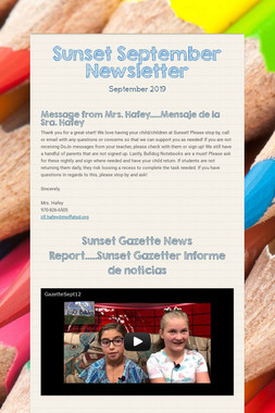 Sunset September Newsletter