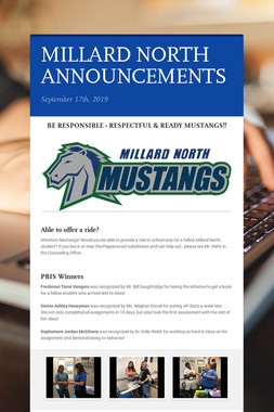 MILLARD NORTH ANNOUNCEMENTS
