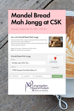 Mandel Bread Mah Jongg at CSK
