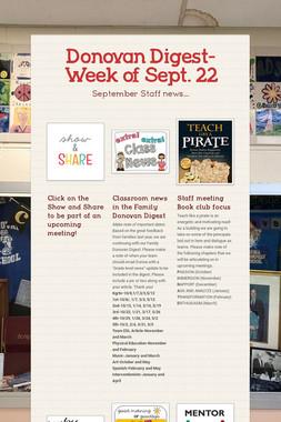 Donovan Digest- Week of Sept. 22