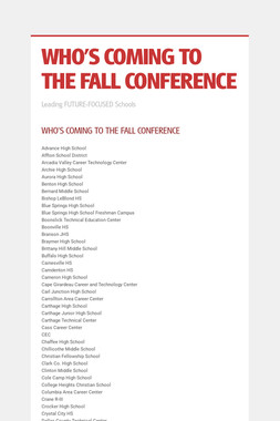 WHO'S COMING TO THE FALL CONFERENCE