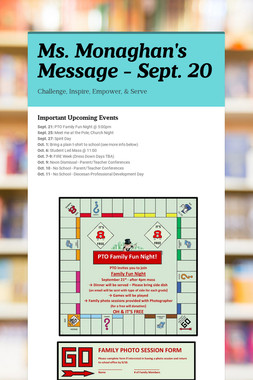 Ms. Monaghan's Message - Sept. 20