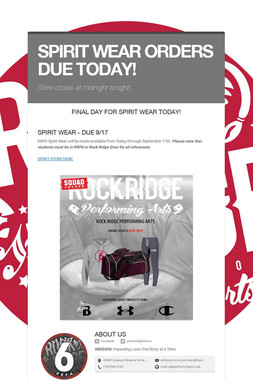 SPIRIT WEAR ORDERS DUE TODAY!